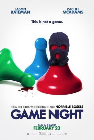 Game Night Poster: game board pieces wearing ski masks with splatter of blood on the ground