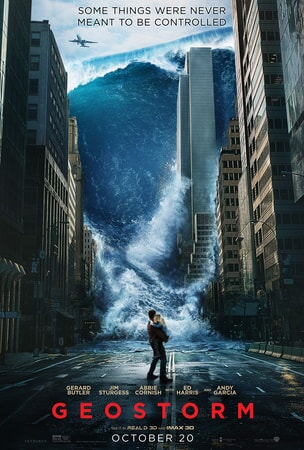 Geostorm keyart: Tsumani wave crashing between city buildings