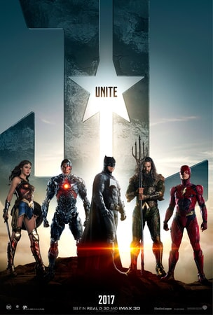 Wonder Woman, Cyborg, Batman, Aquaman and The Flash in front of JL logo