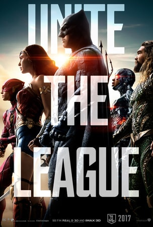 "Justice League members Flash, Wonder Woman, Batman Cyborg and Aqua Man in profile with ""Unite the League"" in large text over the poster"