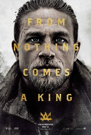 """Charlie Humman close-up as King Arthur with text that reads """"From Nothing Comes A King"""""""