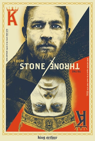 """King Arthur and Vortigern on a playing card with the text """"From Stone to the Throne"""""""