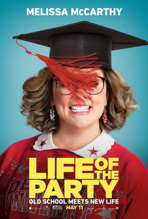 Melissa McCarthy as Deanna wearing graduation cap with tassel covering her face in Life of the Party