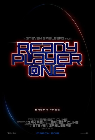 "Ready Player One logo in blue font outlined in red with text ""Break Free"" below"