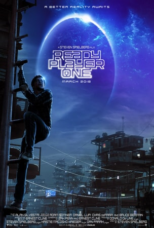 Ready Player One poster art - Wade Watts climbing ladder in shanty type town