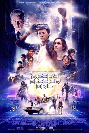 Collage of characters in an 80's inspired poster for Ready Player One