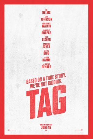 "Tag in red text with tag line ""Based on a True Story, We're Not Kidding"" with white background"