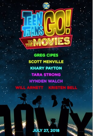 Teen Titans GO! To the Movies poster - logo with cast names and outline of characters standing on the Hollywood sign