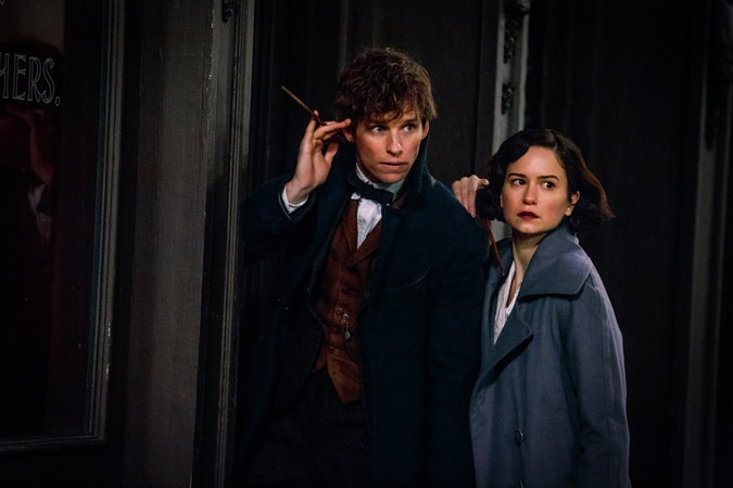 "EDDIE REDMAYNE as Newt and KATHERINE WATERSTON as Tina in Warner Bros. Pictures' fantasy adventure ""FANTASTIC BEASTS AND WHERE TO FIND THEM,"" a Warner Bros. Pictures release."