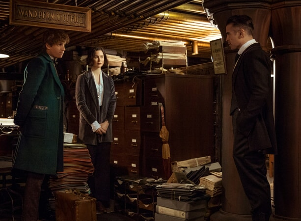 "EDDIE REDMAYNE as Newt, KATHERINE WATERSTON as Tina and COLIN FARRELL as Graves in Warner Bros. Pictures' fantasy adventure ""FANTASTIC BEASTS AND WHERE TO FIND THEM,"" a Warner Bros. Pictures release."