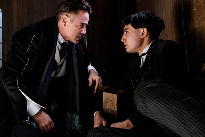 "COLIN FARRELL as Graves and EZRA MILLER as Credence in Warner Bros. Pictures' fantasy adventure ""FANTASTIC BEASTS AND WHERE TO FIND THEM,"" a Warner Bros. Pictures release."