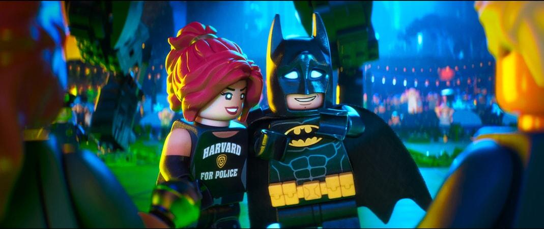 "(L-R) LEGO® minifigures Barbara Gordon (ROSARIO DAWSON) and Batman (WILL ARNETT) in the animated adventure ""The LEGO Batman Movie,"""