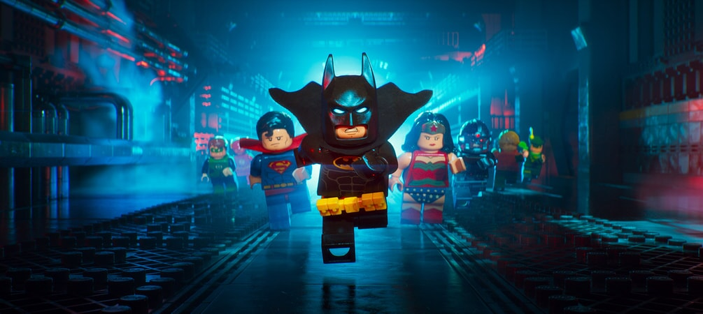 "LEGO® minifigure Batman (WILL ARNETT) with members of the Justice League in the animated adventure ""The LEGO Batman Movie,"""