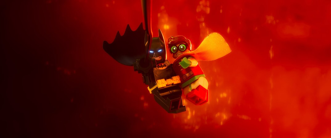 "(L-R) LEGO® minifigures Batman (WILL ARNETT) and Robin (MICHAEL CERA) in the animated adventure ""The LEGO Batman Movie,"""