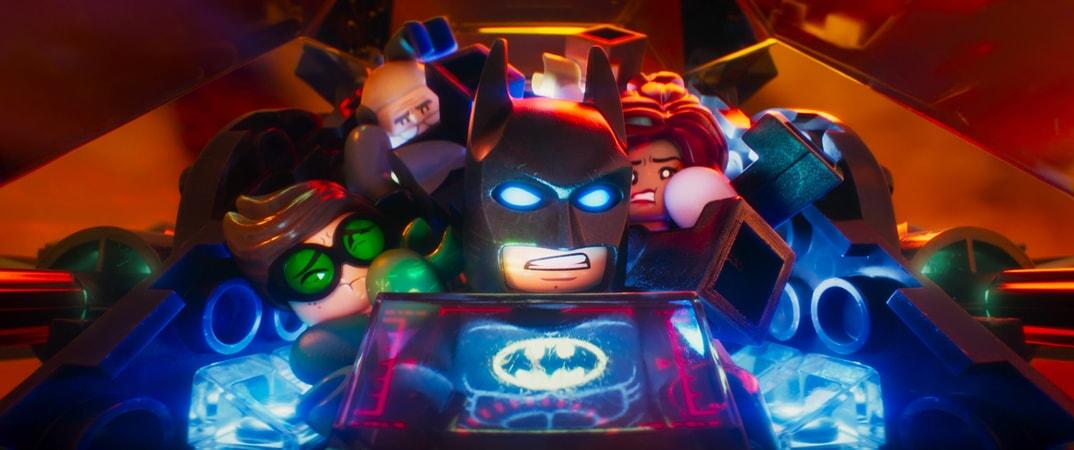 "(L-R) LEGO® minifigures Robin (MICHAEL CERA), Batman (WILL ARNETT) and Barbara Gordon (ROSARIO DAWSON) in the animated adventure ""The LEGO Batman Movie,"""
