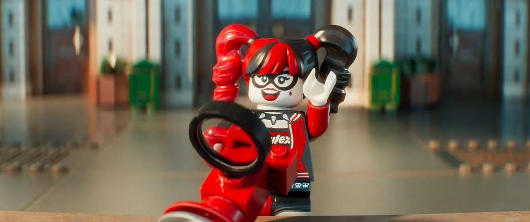 "LEGO® minifigure Harley Quinn (JENNY SLATE) in the animated adventure ""The LEGO Batman Movie,"""