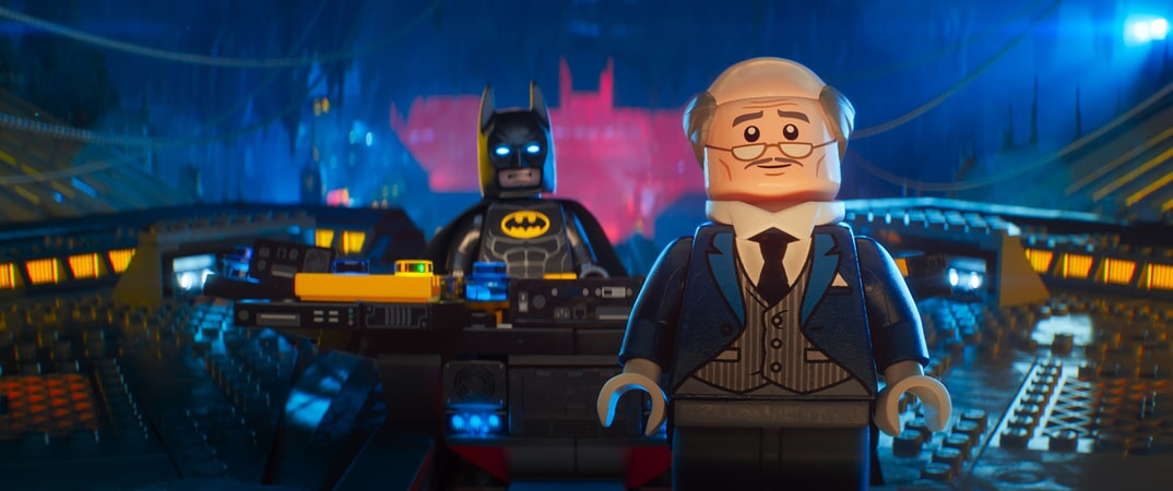 "(L-R) LEGO® minifigures Batman (WILL ARNETT) and Alfred (RALPH FIENNES) in the animated adventure ""The LEGO Batman Movie,"""