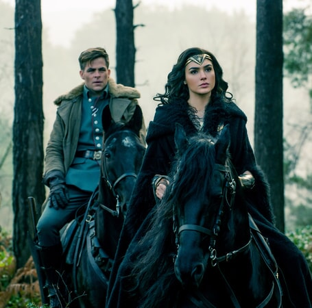 "CHRIS PINE as Steve Trevor and GAL GADOT as Diana in the action adventure ""WONDER WOMAN,"" a Warner Bros. Pictures release."