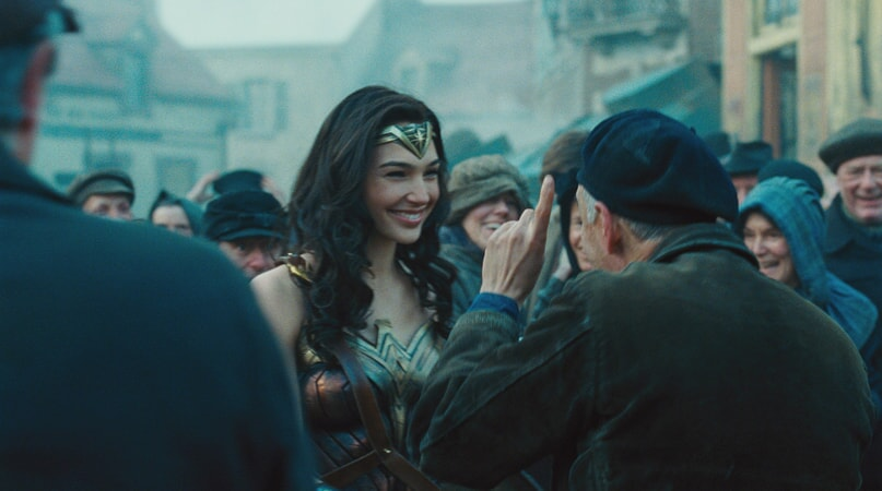 "(Center) GAL GADOT as Diana in the action adventure ""WONDER WOMAN,"" a Warner Bros. Pictures release."