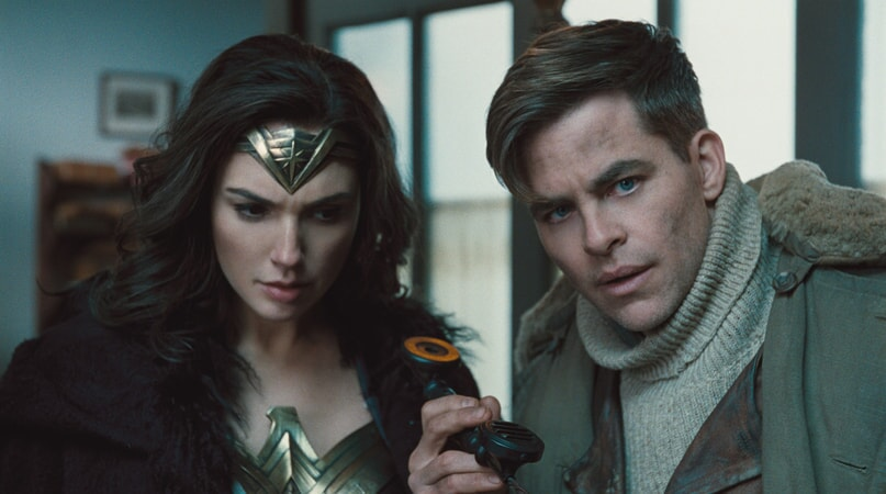"GAL GADOT as Diana and CHRIS PINE as Steve Trevor in the action adventure ""WONDER WOMAN,"" a Warner Bros. Pictures release."
