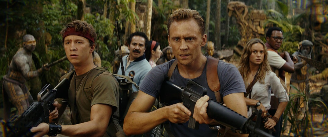 "THOMAS MANN as Slivko, JOHN ORTIZ as Victor, TOM HIDDLESTON as James Conrad and BRIE LARSON as Mason Weaver in Warner Bros. Pictures', Legendary Pictures' and Tencent Pictures' action adventure ""KONG: SKULL ISLAND,"" a Warner Bros. Pictures release."