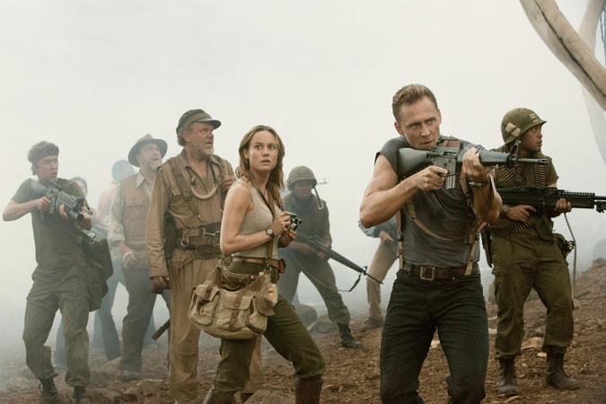 "THOMAS MANN as Slivko, JOHN GOODMAN as Bill Randa, JOHN C. REILLY as Hank Marlow, BRIE LARSON as Mason Weaver and TOM HIDDLESTON as James Conrad in Warner Bros. Pictures', Legendary Pictures' and Tencent Pictures' action adventure ""KONG: SKULL ISLAND,"" a Warner Bros. Pictures release."