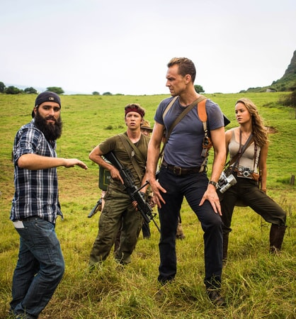 "Director JORDAN VOGT-ROBERTS, THOMAS MANN, TOM HIDDLESTON and BRIE LARSON on the set of Warner Bros. Pictures, Legendary Pictures and Tencent Pictures' action adventure ""KONG: SKULL ISLAND,"" a Warner Bros. Pictures release."