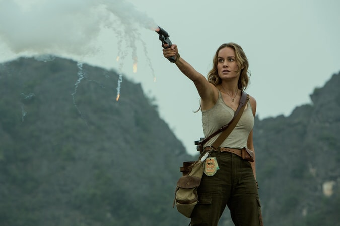 "BRIE LARSON as Mason Weaver in Warner Bros. Pictures', Legendary Pictures' and Tencent Pictures' action adventure ""KONG: SKULL ISLAND,"" a Warner Bros. Pictures release."