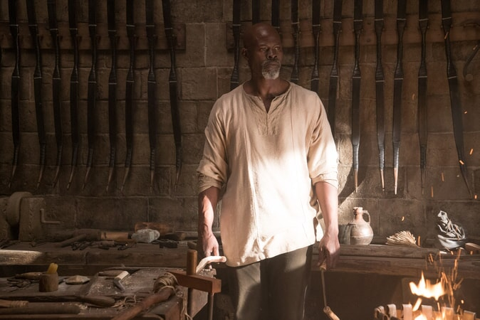 """DJIMON HOUNSOU as Bedivere in Warner Bros. Pictures' and Village Roadshow Pictures' fantasy action adventure """"KING ARTHUR: LEGEND OF THE SWORD,"""" distributed worldwide by Warner Bros. Pictures and in select territories by Village Roadshow Pictures."""