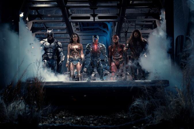 BEN AFFLECK as Batman, GAL GADOT as Wonder Woman, RAY FISHER as Cyborg, EZRA MILLER as The Flash and JASON MOMOA as Aquaman
