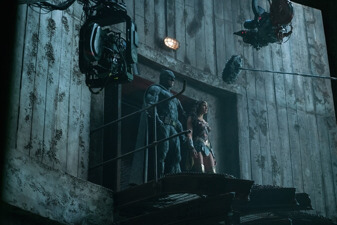 "BEN AFFLECK and GAL GADOT on the set of Warner Bros. Pictures' action adventure ""JUSTICE LEAGUE,"" a Warner Bros. Pictures release."
