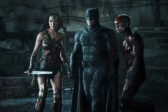 "GAL GADOT as Wonder Woman, BEN AFFLECK as Batman and EZRA MILLER as The Flash in Warner Bros. Pictures' action adventure ""JUSTICE LEAGUE,"" a Warner Bros. Pictures release."