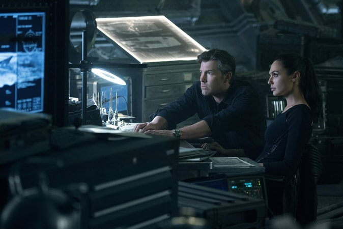"BEN AFFLECK as Bruce Wayne and GAL GADOT as Diana Prince in Warner Bros. Pictures' action adventure ""JUSTICE LEAGUE,"" a Warner Bros. Pictures release."