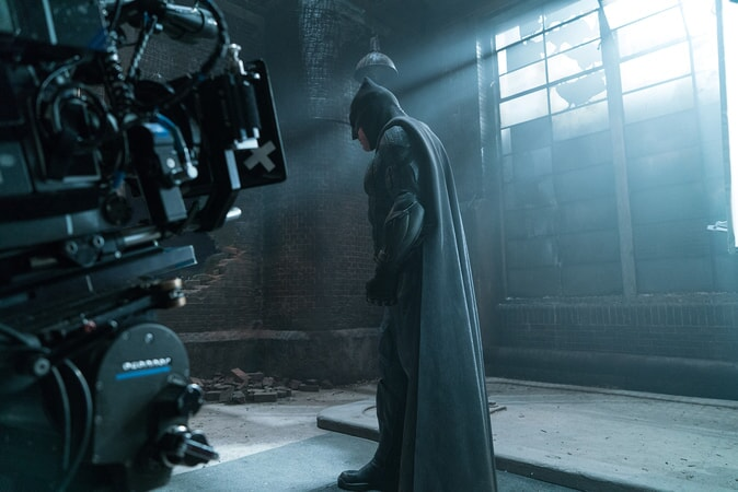 "BEN AFFLECK on the set of Warner Bros. Pictures' action adventure ""JUSTICE LEAGUE,"" a Warner Bros. Pictures release."