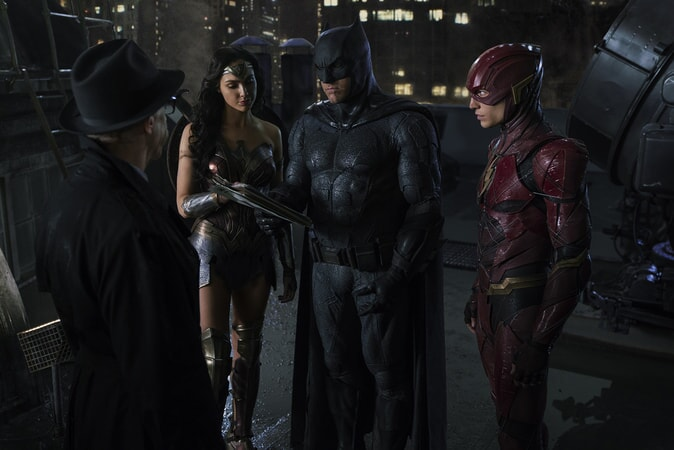 "J.K. SIMMONS as Commissioner Gordon, GAL GADOT as Wonder Woman, BEN AFFLECK as Batman and EZRA MILLER as The Flash in Warner Bros. Pictures' action adventure ""JUSTICE LEAGUE,"" a Warner Bros. Pictures release."