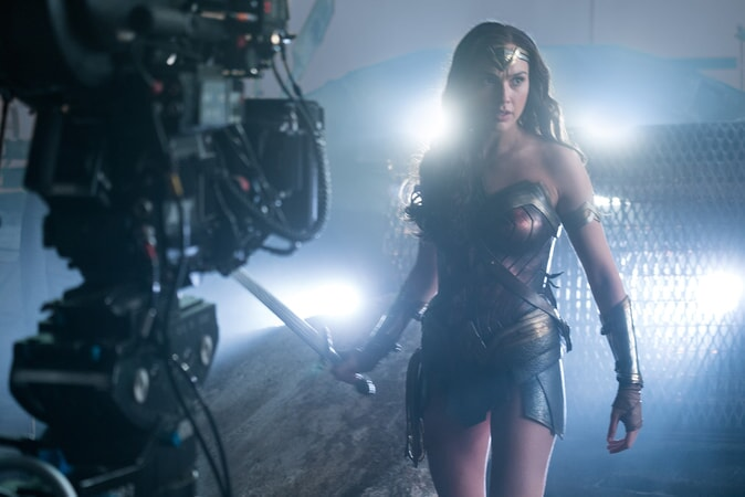 "GAL GADOT on the set of Warner Bros. Pictures' action adventure ""JUSTICE LEAGUE,"" a Warner Bros. Pictures release."