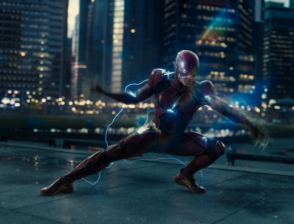 "EZRA MILLER as The Flash in Warner Bros. Pictures' action adventure ""JUSTICE LEAGUE,"" a Warner Bros. Pictures release."