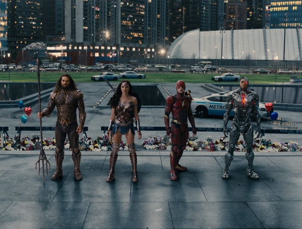 "JASON MOMOA as Aquaman, GAL GADOT as Wonder Woman, EZRA MILLER as The Flash and RAY FISHER as Cyborg in Warner Bros. Pictures' action adventure ""JUSTICE LEAGUE,"" a Warner Bros. Pictures release."