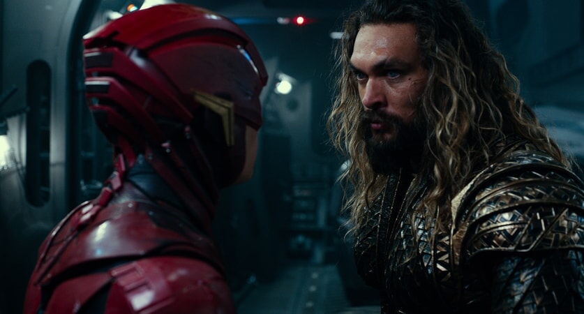 "EZRA MILLER as The Flash and JASON MOMOA as Aquaman in Warner Bros. Pictures' action adventure ""JUSTICE LEAGUE,"" a Warner Bros. Pictures release."