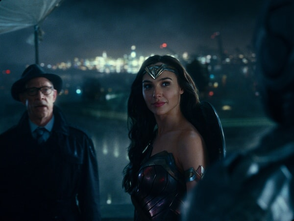 "J.K. SIMMONS as Commissioner Gordon and GAL GADOT as Wonder Woman in Warner Bros. Pictures' action adventure ""JUSTICE LEAGUE,"" a Warner Bros. Pictures release."