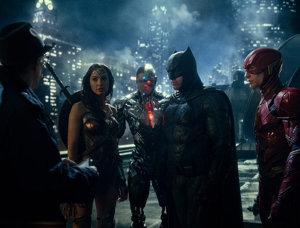 "J.K. SIMMONS as Commissioner Gordon, GAL GADOT as Wonder Woman, RAY FISHER as Cyborg, BEN AFFLECK as Batman and EZRA MILLER as The Flash in Warner Bros. Pictures' action adventure ""JUSTICE LEAGUE,"" a Warner Bros. Pictures release."