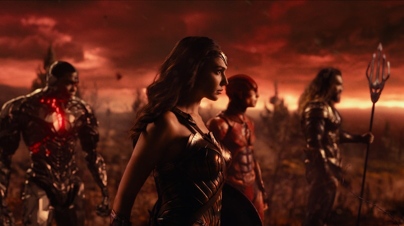 "RAY FISHER as Cyborg, GAL GADOT as Wonder Woman, EZRA MILLER as The Flash and JASON MOMOA as Aquaman in Warner Bros. Pictures' action adventure ""JUSTICE LEAGUE,"" a Warner Bros. Pictures release."