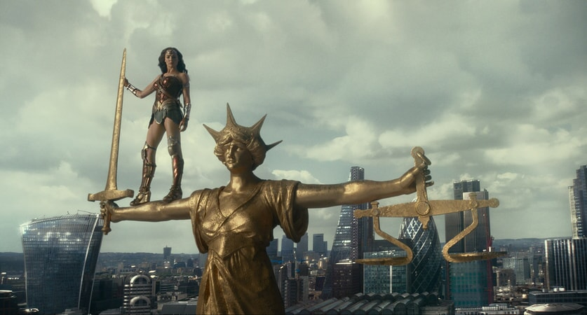 "GAL GADOT as Wonder Woman in Warner Bros. Pictures' action adventure ""JUSTICE LEAGUE,"" a Warner Bros. Pictures release."