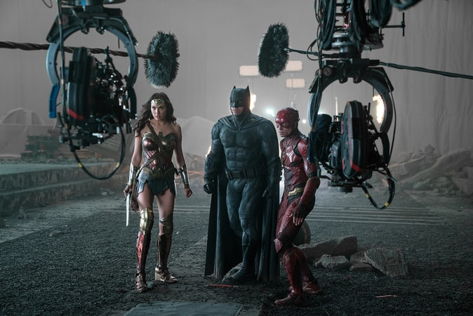 "GAL GADOT, BEN AFFLECK and EZRA MILLER on the set of Warner Bros. Pictures' action adventure ""JUSTICE LEAGUE,"" a Warner Bros. Pictures release."