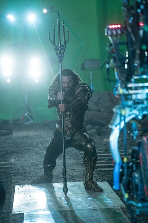 "JASON MOMOA on the set of Warner Bros. Pictures' action adventure ""JUSTICE LEAGUE,"" a Warner Bros. Pictures release."
