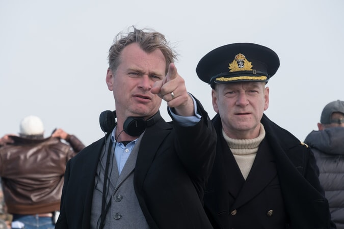 "Director/writer/producer CHRISTOPHER NOLAN and KENNETH BRANAGH on the set of the Warner Bros. Pictures action thriller ""DUNKIRK,"" a Warner Bros. Pictures release."
