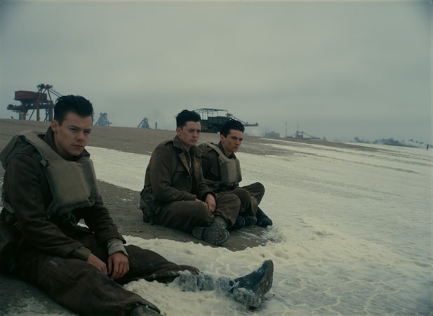 "HARRY STYLES as Alex, ANEURIN BARNARD as Gibson and FIONN WHITEHEAD as Tommy in the Warner Bros. Pictures action thriller ""DUNKIRK,"" a Warner Bros. Pictures release."