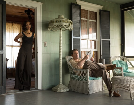 "ZOE SALDANA as Graciela and BEN AFFLECK as Joe Coughlin in Warner Bros. Pictures' dramatic crime thriller ""LIVE BY NIGHT,"" a Warner Bros. Pictures release."