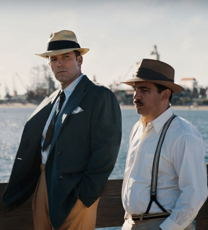 "BEN AFFLECK as Joe Coughlin and CHRIS MESSINA as Dion Bartolo in Warner Bros. Pictures' dramatic crime thriller ""LIVE BY NIGHT,"" a Warner Bros. Pictures release."