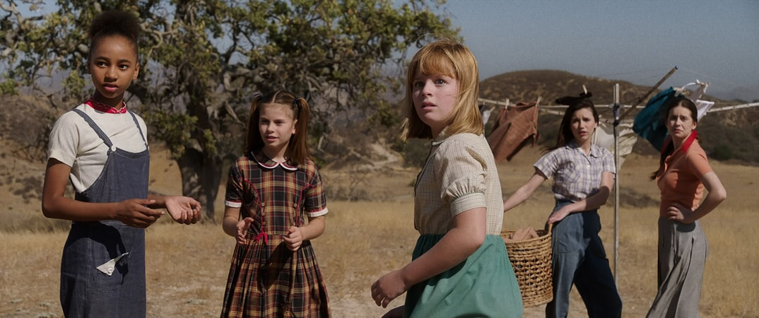 "TAYLER BUCK as Kate, LOU LOU SAFRAN as Tierney, LULU WILSON as Linda, GRACE FULTON as Carol and PHILIPPA COULTHARD as Nancy in New Line Cinema's supernatural thriller ""ANNABELLE: CREATION,"" a Warner Bros. Pictures release."
